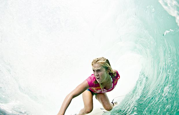 Bethany Hamilton driving through a barrel in Indonesia Fall 2009.