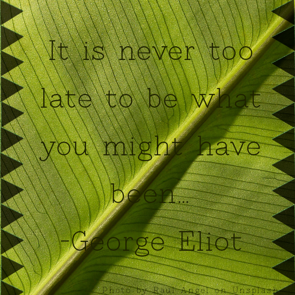 "Green background with quote, ""It is never too late to be what you might have been."" by George Eliot."